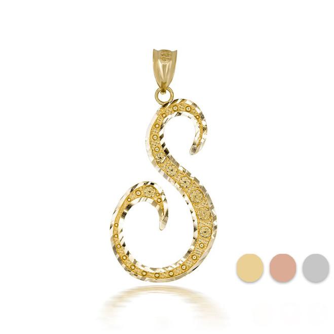 "Gold Cursive Initial Letter ""S"" 10k/14k Pendant/Necklace  (Yellow/Rose/White)"