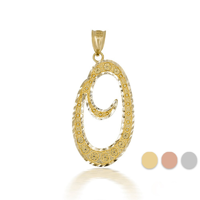 """Gold Cursive Initial Letter """"O"""" 10k/14k Pendant/Necklace  (Yellow/Rose/White)"""