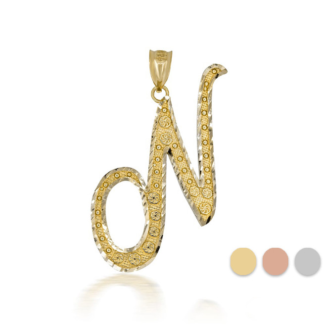 """Gold Cursive Initial Letter """"N"""" 10k/14k Pendant/Necklace  (Yellow/Rose/White)"""