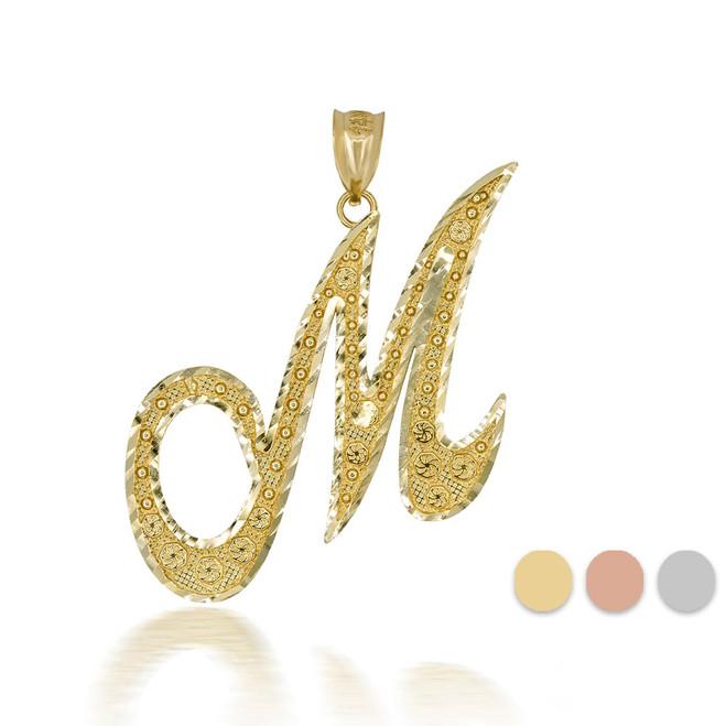 "Gold Cursive Initial Letter ""M"" 10k/14k Pendant/Necklace  (Yellow/Rose/White)"
