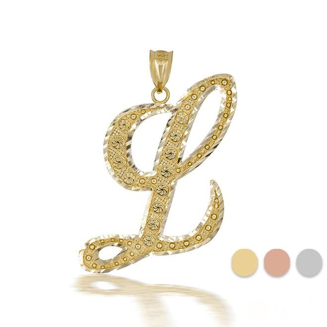"Gold Cursive Initial Letter ""L"" 10k/14k Pendant/Necklace  (Yellow/Rose/White)"