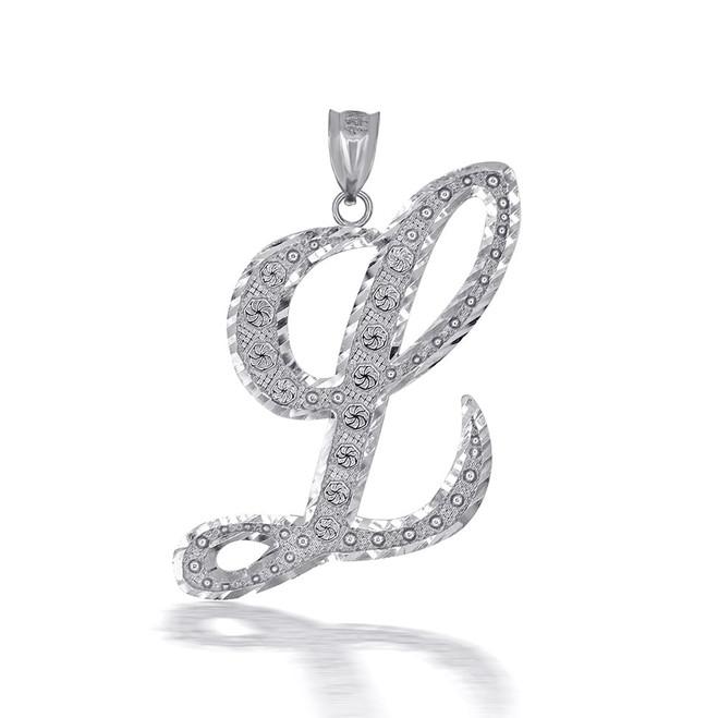 "Sterling Silver Cursive Initial Letter ""L"" Pendant/Necklace"