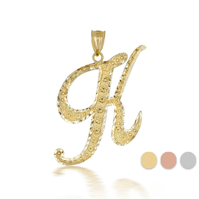 "Gold Cursive Initial Letter ""K"" 10k/14k Pendant/Necklace  (Yellow/Rose/White)"