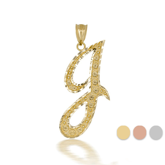 "Gold Cursive Initial Letter ""J"" 10k/14k Pendant/Necklace  (Yellow/Rose/White)"