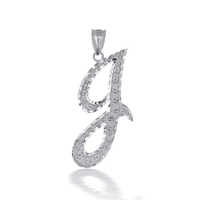 "Sterling Silver Cursive Initial Letter ""J"" Pendant/Necklace"