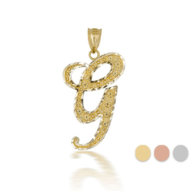 "Gold Cursive Initial Letter ""G"" 10k/14k Pendant/Necklace  (Yellow/Rose/White)"