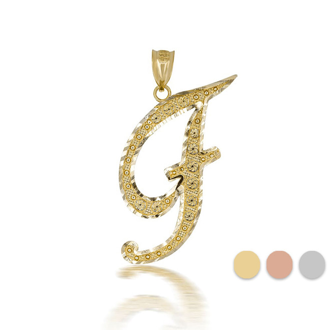 """Gold Cursive Initial Letter """"F"""" 10k/14k Pendant/Necklace  (Yellow/Rose/White)"""