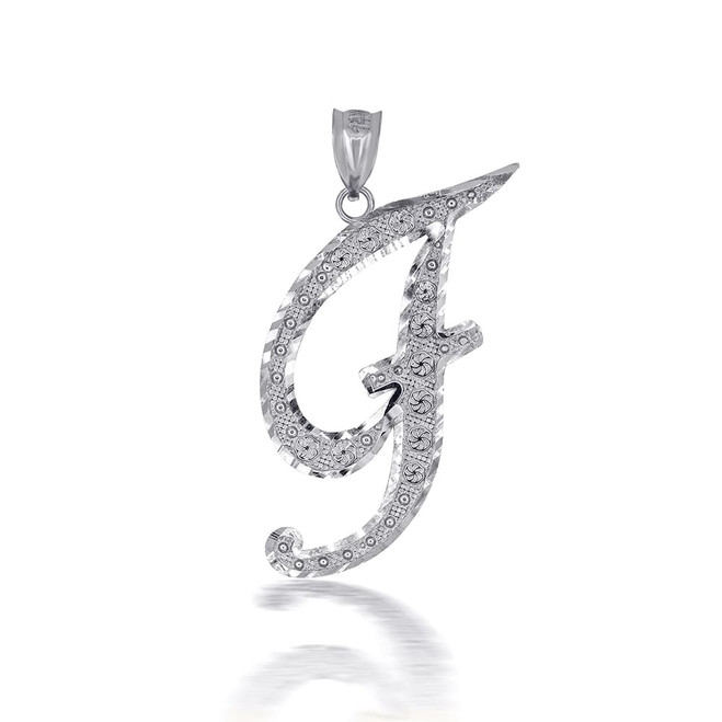 """Sterling Silver Cursive Initial Letter """"F"""" Pendant/Necklace"""