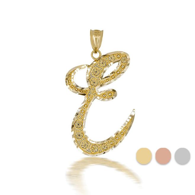 "Gold Cursive Initial Letter ""E"" 10k/14k Pendant/Necklace  (Yellow/Rose/White)"