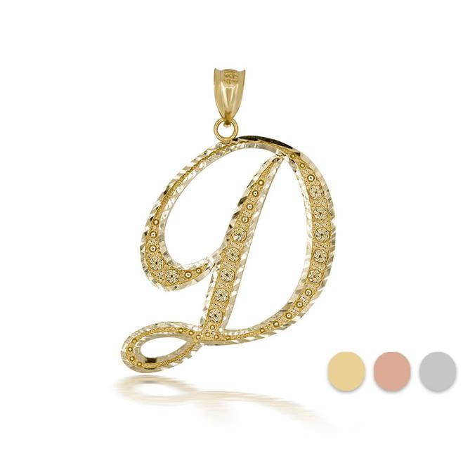 "Gold Cursive Initial Letter ""D"" 10k/14k Pendant/Necklace  (Yellow/Rose/White)"