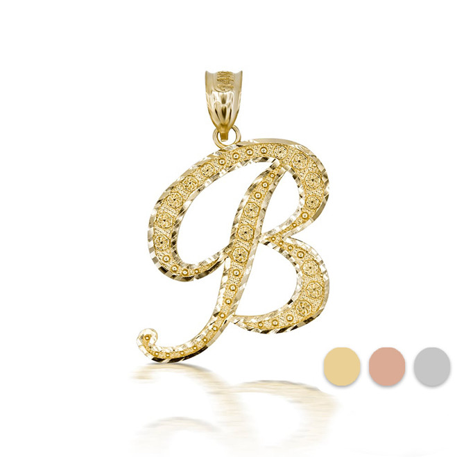 "Gold Cursive Initial Letter ""B"" 10k/14k Pendant/Necklace  (Yellow/Rose/White)"