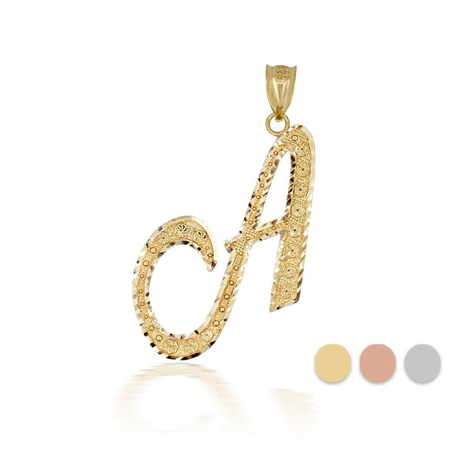 "Gold Cursive Initial Letter ""A"" 10k/14k Pendant/Necklace  (Yellow/Rose/White)"
