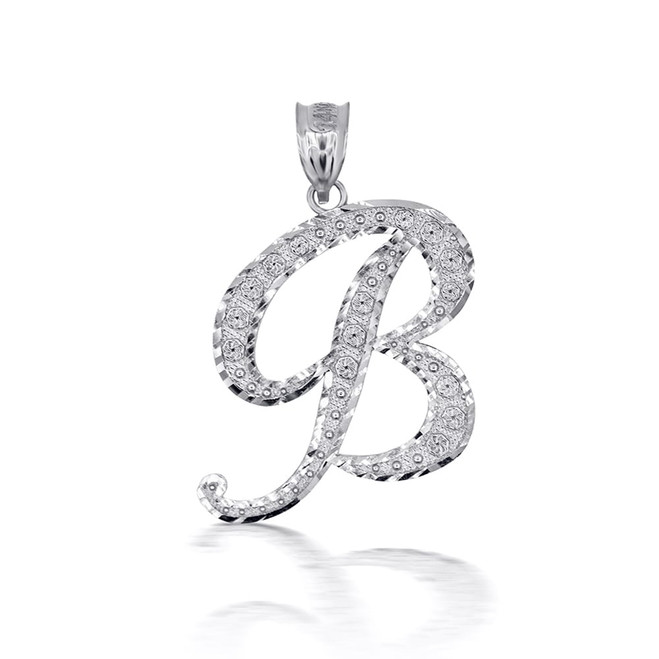 "Sterling Silver Cursive Initial Letter ""B"" Pendant/Necklace"