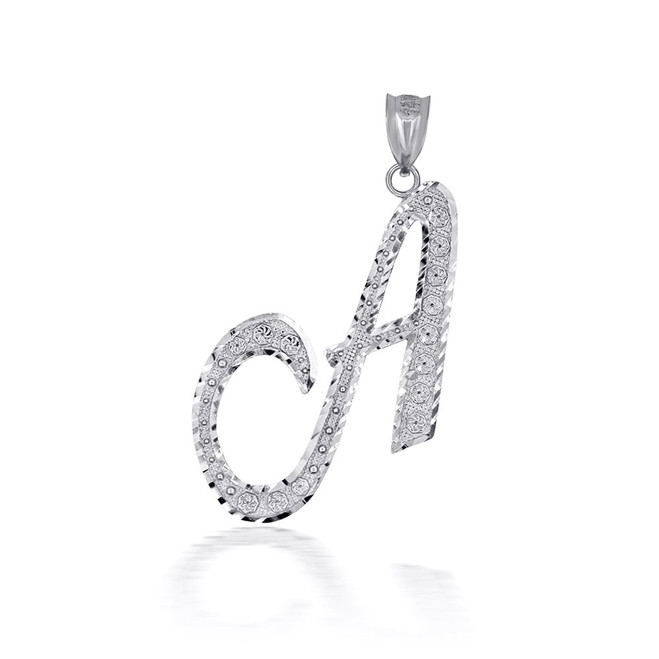 "Sterling Silver Cursive Initial Letter ""A"" Pendant/Necklace"