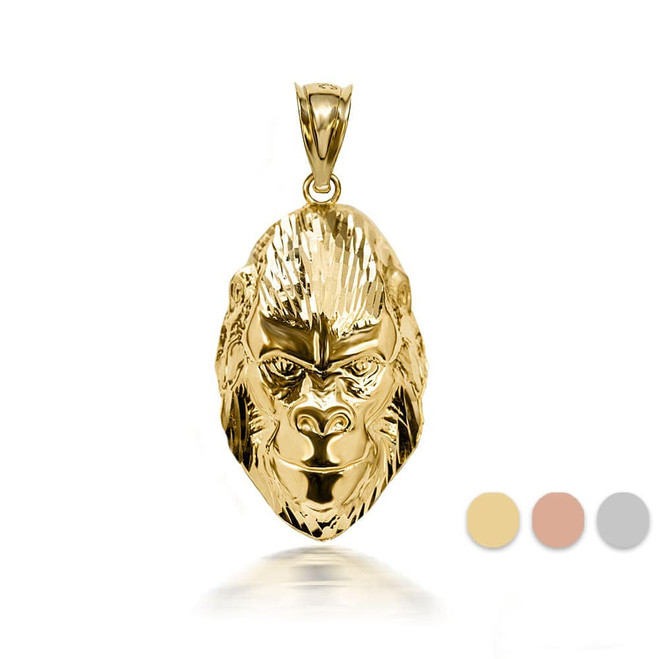 3D 10k/14k Gold Gorilla Face Pendant Necklace with Caged Back (YELLOW/ROSE/WHITE)