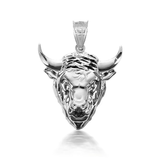 925 Sterling Silver 3D Bull  Pendant Necklace with Caged Back