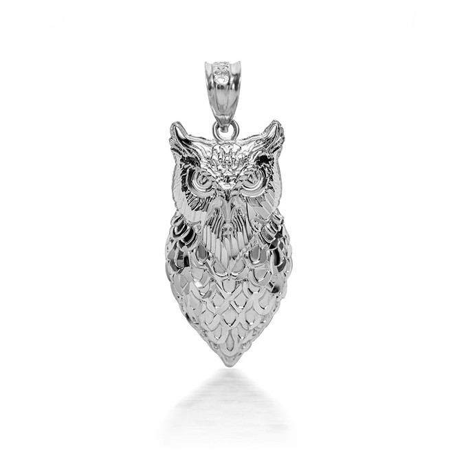 925 Sterling Silver 3D Owl Pendant Necklace with Caged Back