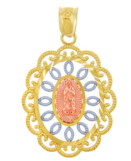 Gold Pendants - Guadalupe Three-Tone Gold Pendant