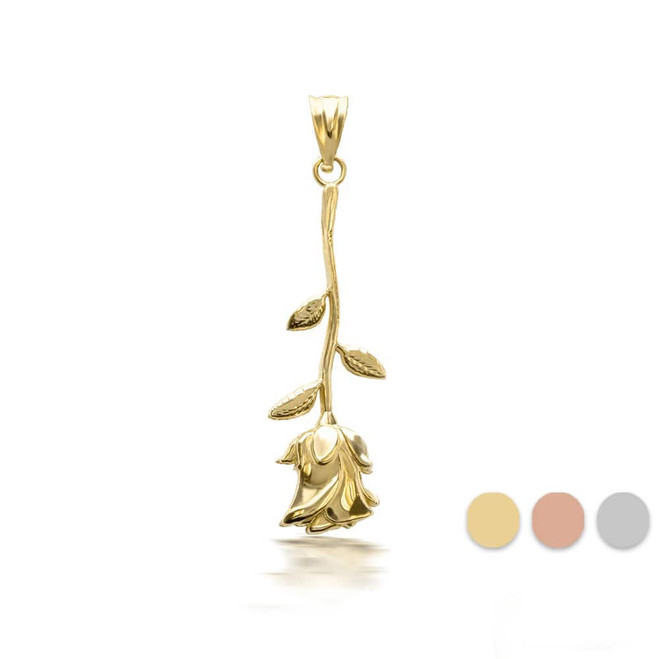 10k/14k 3D Gold Rose Flower Pendant Necklace(YELLOW/ROSE/WHITE)