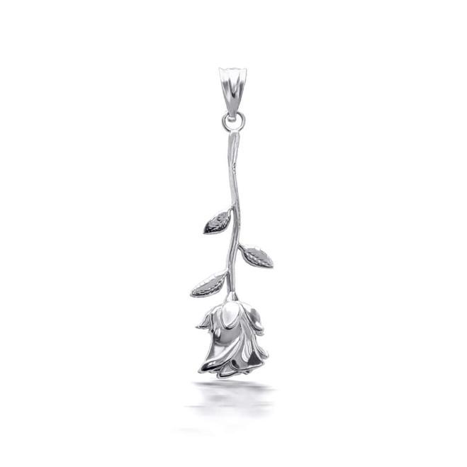 925 Sterling Silver Rose Flower Pendant Necklace