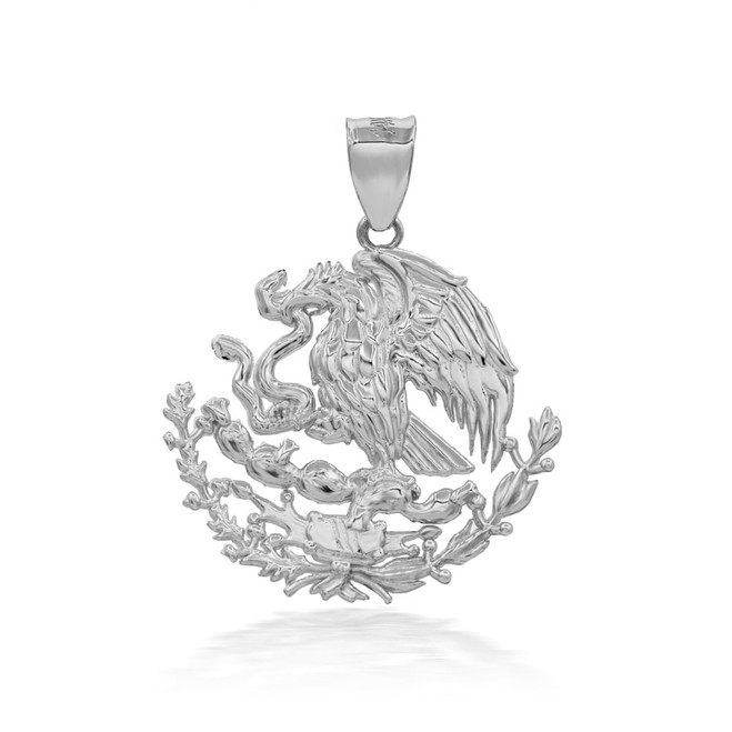 925 Sterling Silver Mexican Coat OF Arms Eagle Pendant Necklace