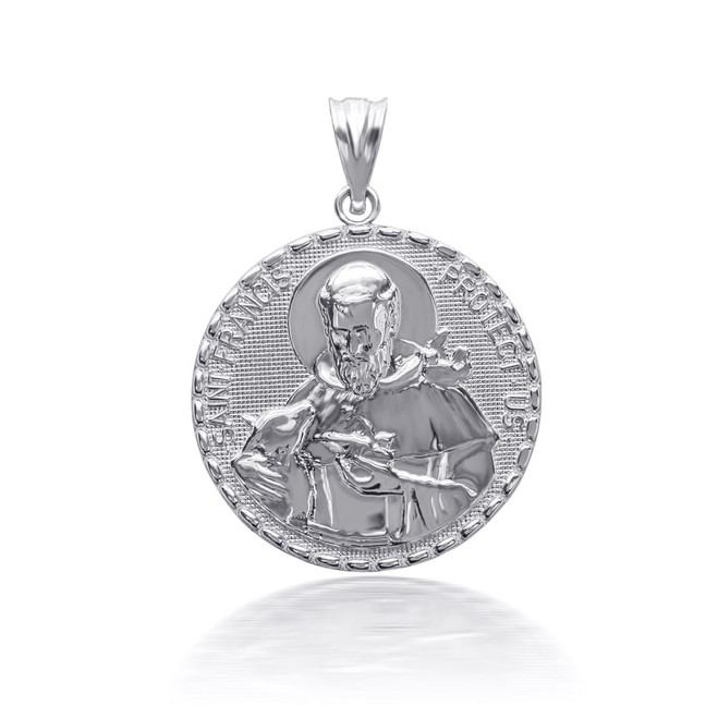 925 Sterling Silver 3D Saint Francis Protect Us Pendant Necklace