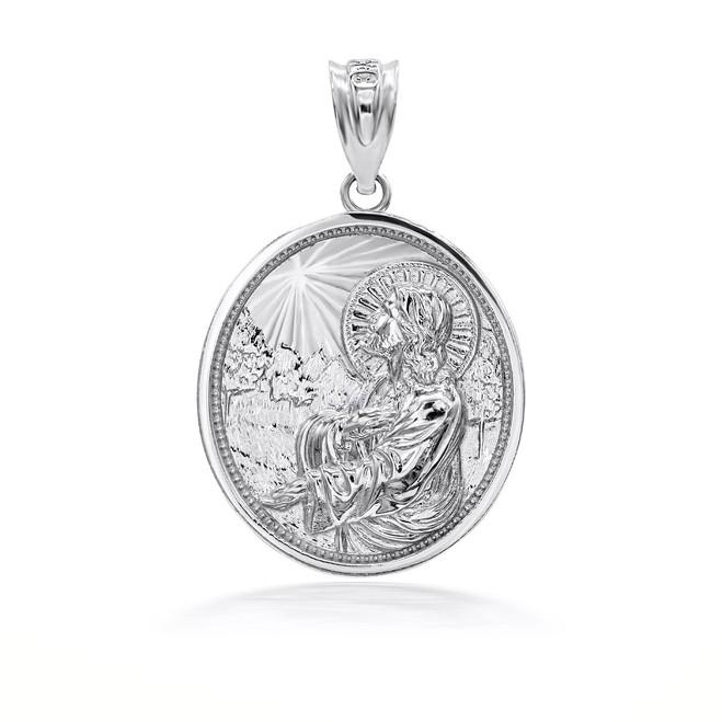 925 Sterling Silver Jesus Christ Sermon On The Mount Pendant Necklace
