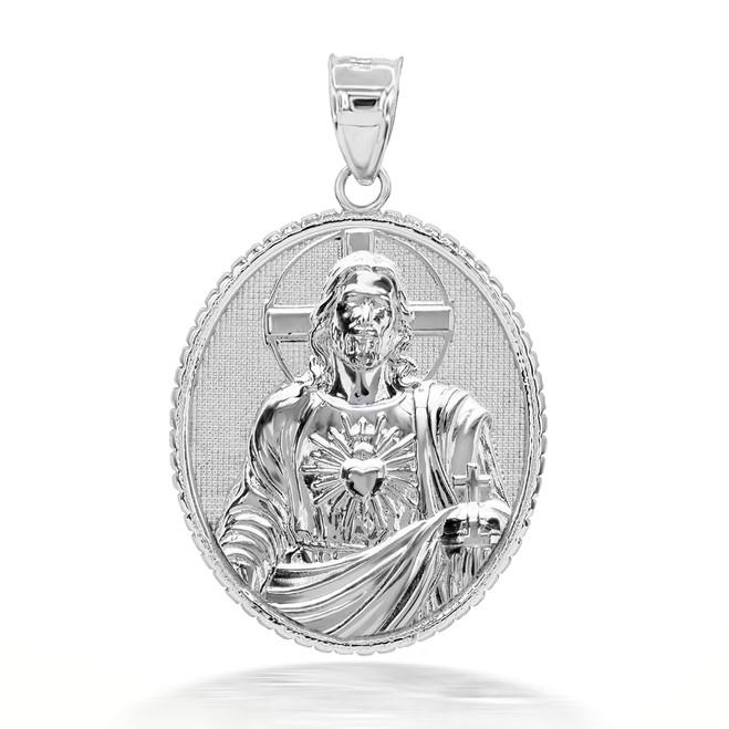 925 Sterling Silver 3D Jesus Christ Sacred Heart Oval Pendant Necklace