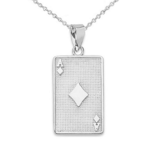 Ace of Diamonds Card Pendant Necklace in Sterling Silver