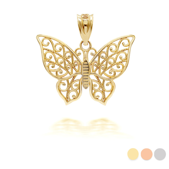 Gold butterfly pendant necklace (Yellow/Rose/White)