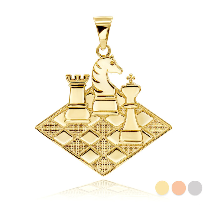 Chess Pendant Necklace in Gold (Yellow/ Rose/ White)