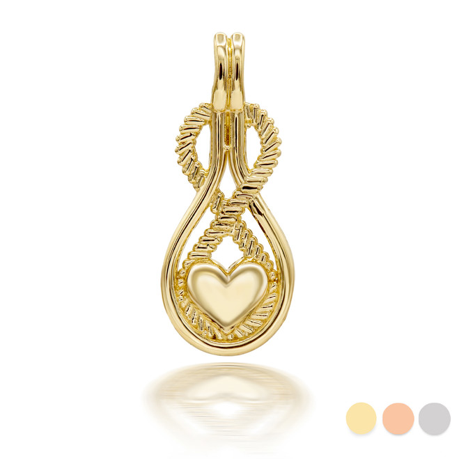 Infinity Heart Pendant Necklace in Gold (Yellow/ Rose/ White)