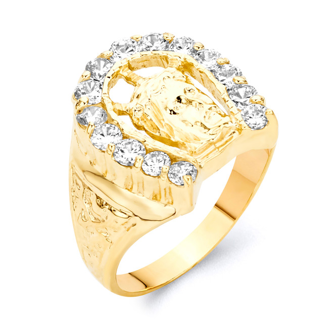 Gold Horseshoe with Jesus Face Ring
