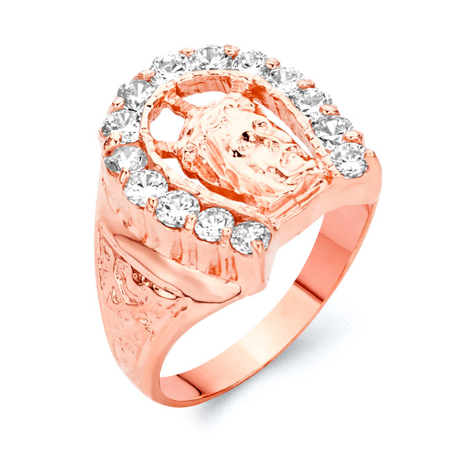 Rose Gold Horseshoe with Jesus Face Ring