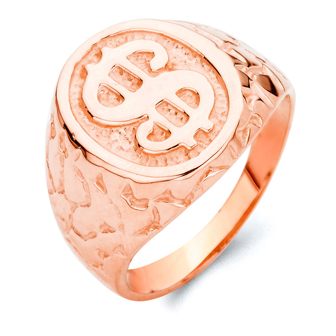 Dollar Sign Nugget Ring in Rose Gold