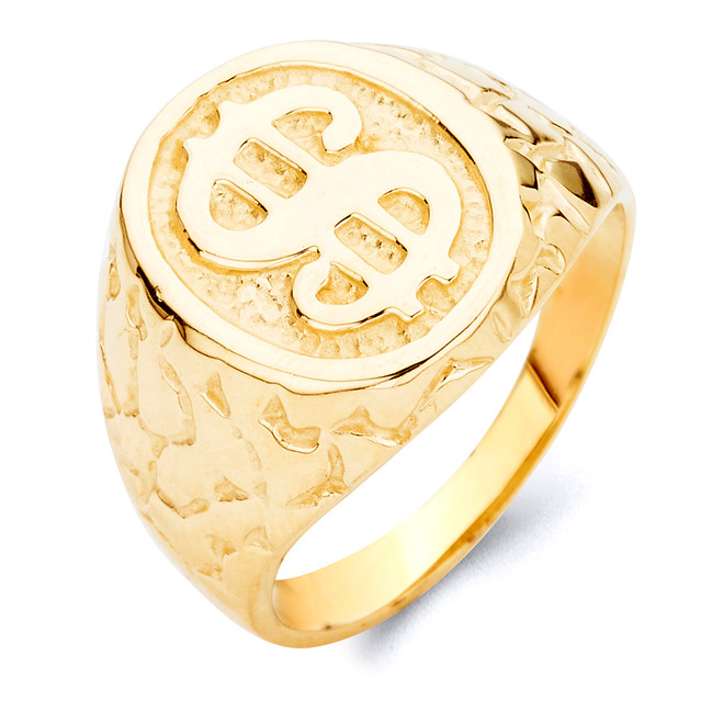 Dollar Sign Nugget Ring in Gold