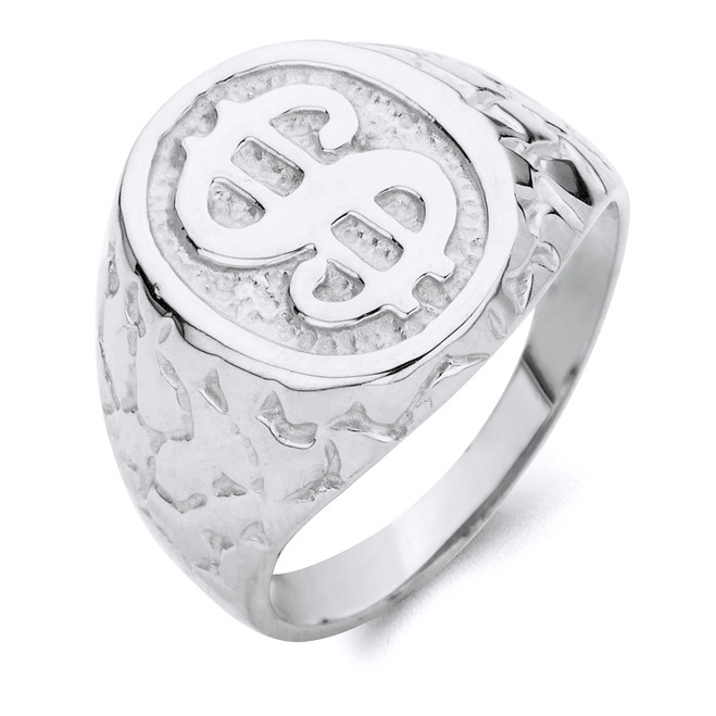 Dollar Sign Nugget Ring in Sterling Silver