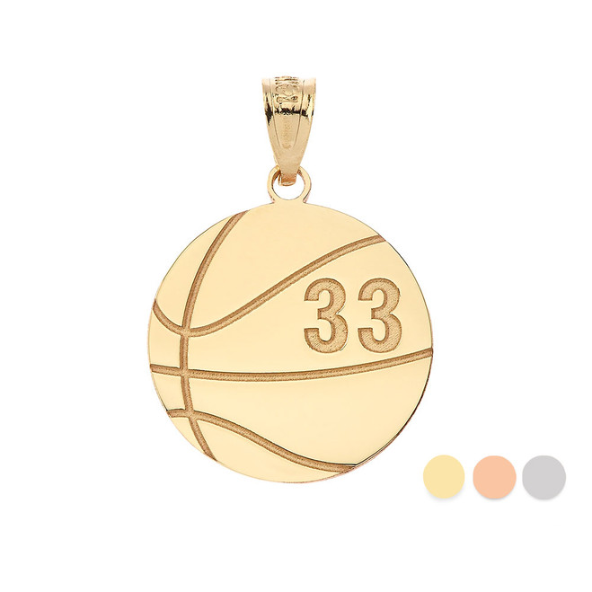 Personalized Engravable Gold Basketball Charm Necklace with Your Number And Name(Yellow/Rose/White)
