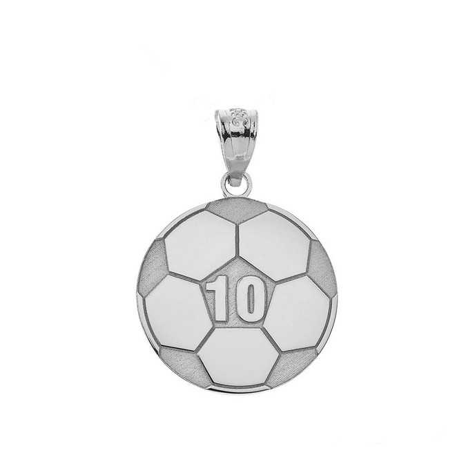 Personalized Engravable Silver Soccer Ball Charm Necklace With Your Number And Name