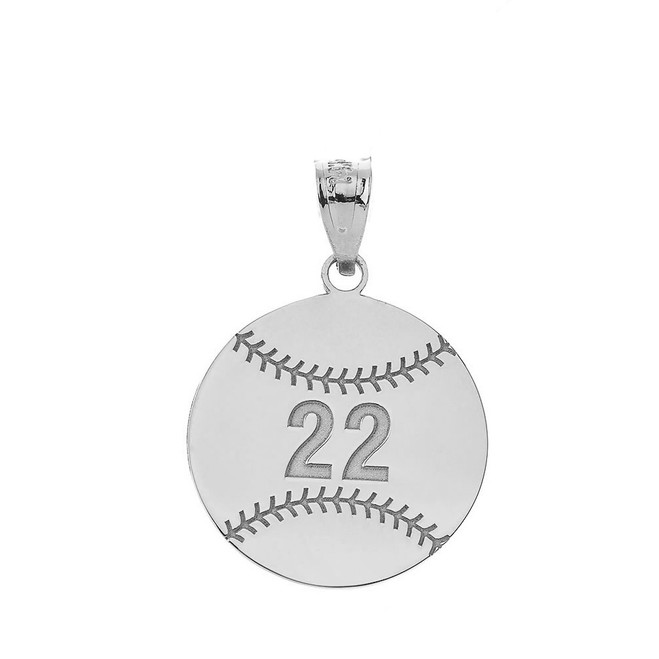 Personalized Engravable silver Baseball/Softball Charm Necklace With Your Number And Name