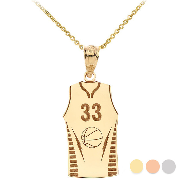 Personalized Engravable Gold Basketball Jersey Charm Necklace With Your Number And Name(Yellow/Rose/White)