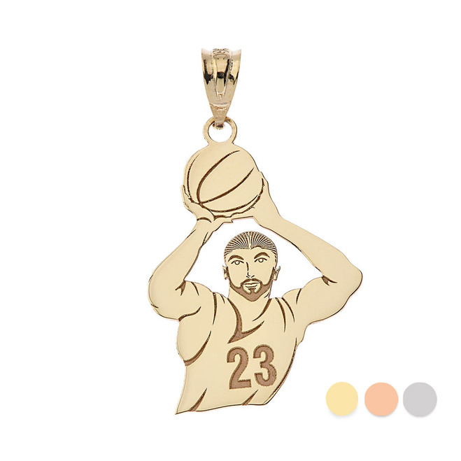 Personalized Engravable Gold Basketball Player Charm Necklace With Your Number And Name(Yellow/Rose/White)