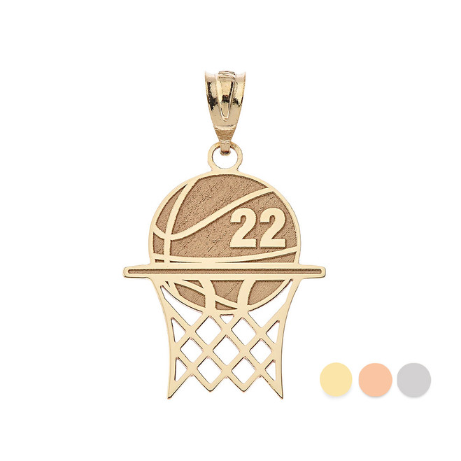 Personalized Engravable Gold Basketball Hoop Charm Necklace With Your Number And Name(Yellow/Rose/White)