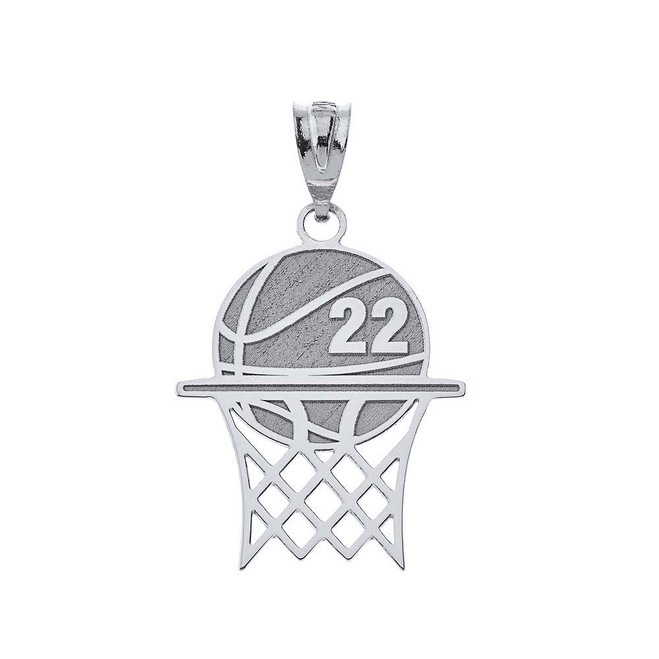 Personalized Engravable Silver Basketball Hoop Charm Necklace With Your Number And Name