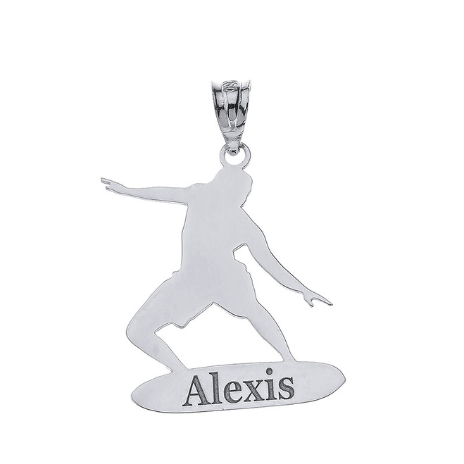 Personalized Engravable Silver Surfer Longboard  Charm Necklace With Your Name