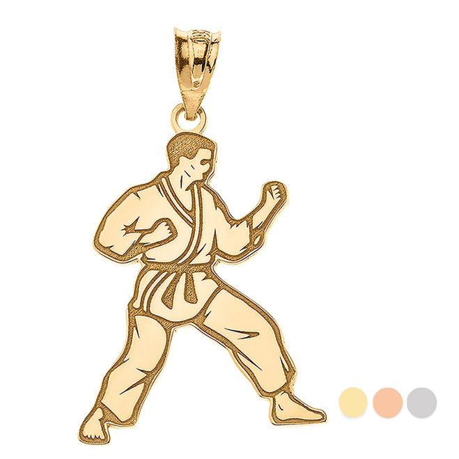 Personalized Engravable Gold Karate Martial Arts Pendant Engraved with Your Personalized Name(Yellow/Rose/White)