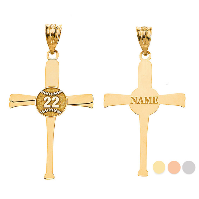 Personalized Engravable Gold Baseball Bats Athletes Cross Charm Necklace With Your Number And Name(Yellow/Rose/White)