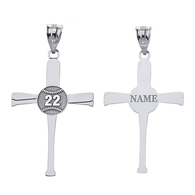 Personalized Engravable Silver Baseball Bats Athletes Cross Charm Necklace With Your Number And Name