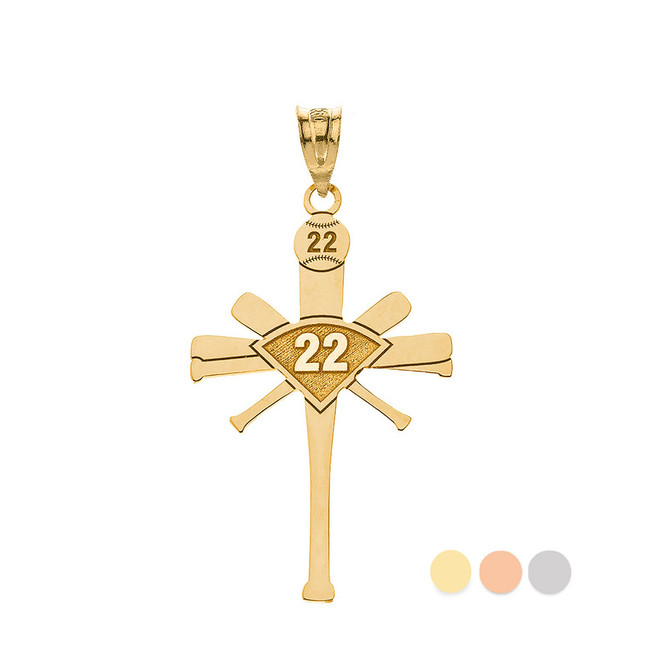 Personalized Engravable Gold Baseball Bat Cross Charm Necklace With Your Number And Name(Yellow/Rose/White)