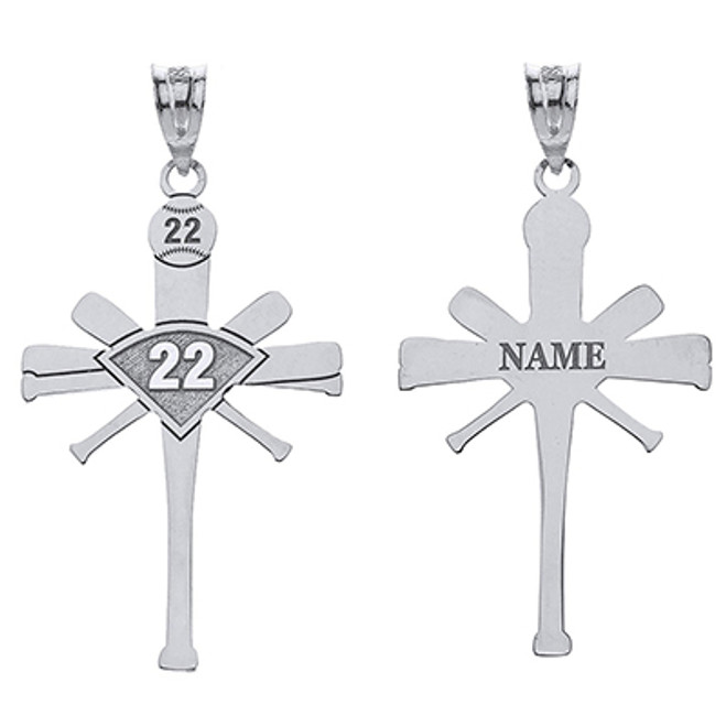 Personalized Engravable Silver Baseball Bat Cross Charm Necklace With Your Number And Name